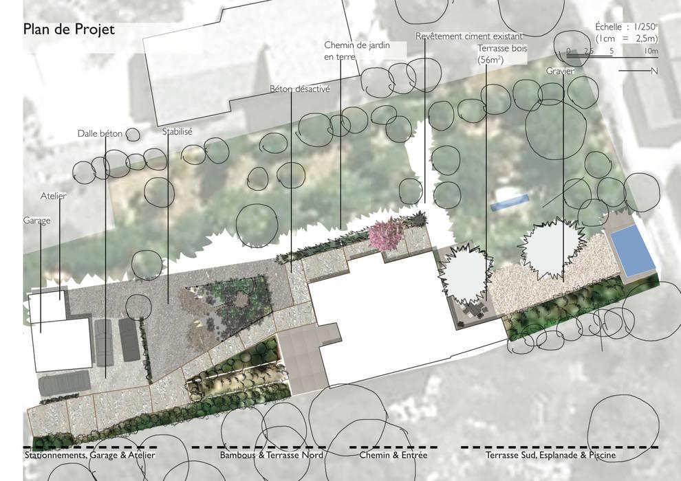 Plan Projet: Jardin de style de style Méditerranéen par Atelier Pierre David Paysagiste