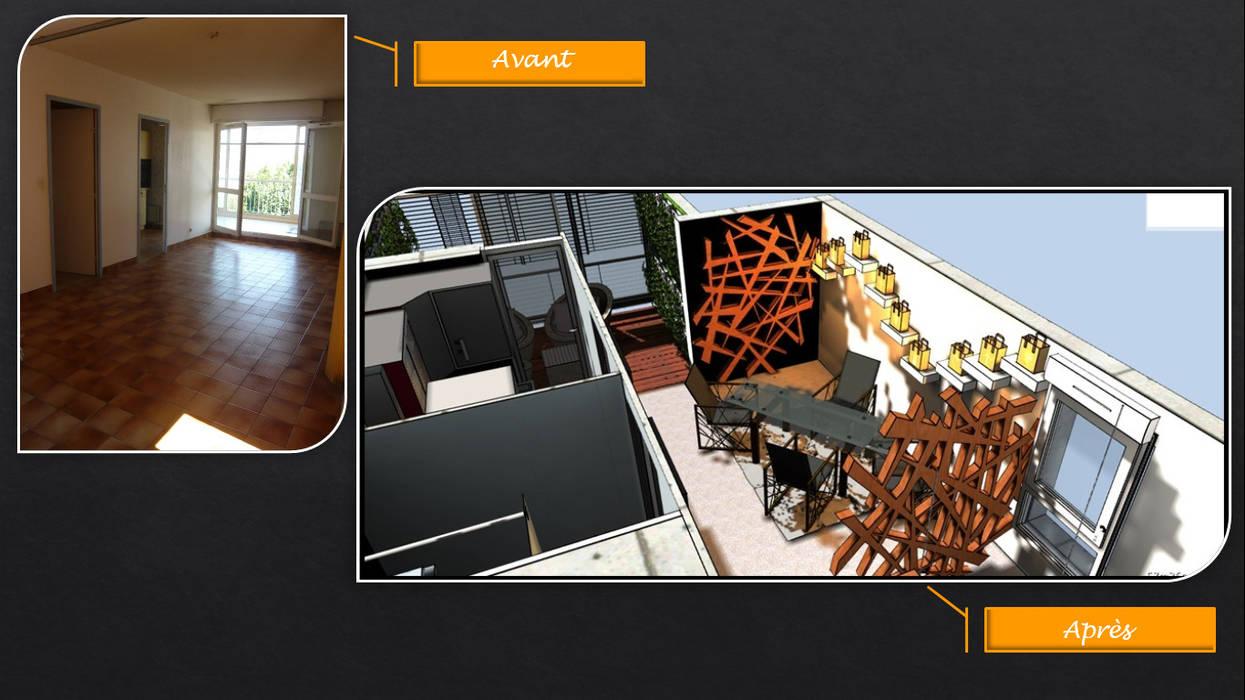 Avant-Après (simulation / particulier): Salle à manger de style  par JC Créations d'intérieurs