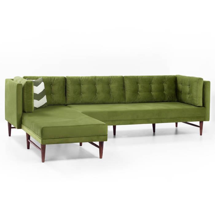 K105 Mobilya Pazarlama Danışmanlık San.İç ve Dış Tic.LTD.ŞTİ. – Point Retro Life Yeşil Köşe Kanepe+Kilim: modern tarz , Modern Ahşap Ahşap rengi