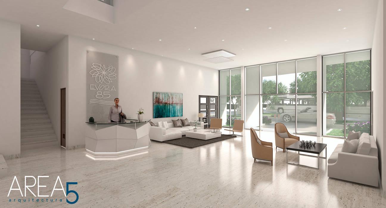 Lobby de acceso Pasillos, vestíbulos y escaleras de estilo moderno de Area5 arquitectura SAS Moderno Mármol