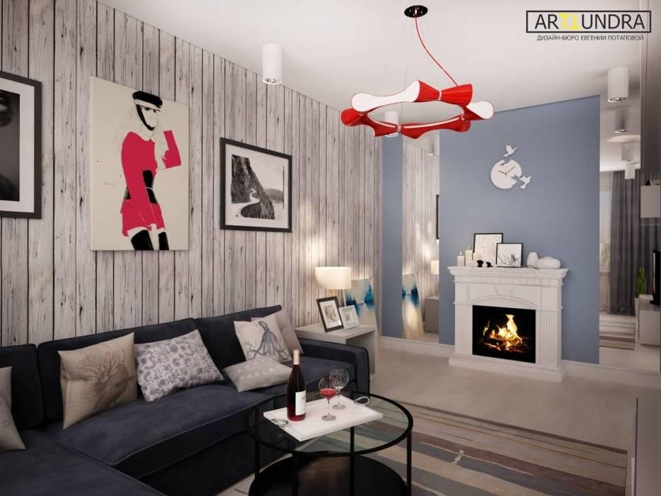 2-х комнатная квартира в г. Одинцово для современной девушки.: Гостиная в . Автор – дизайн-бюро ARTTUNDRA, Лофт Дерево Эффект древесины