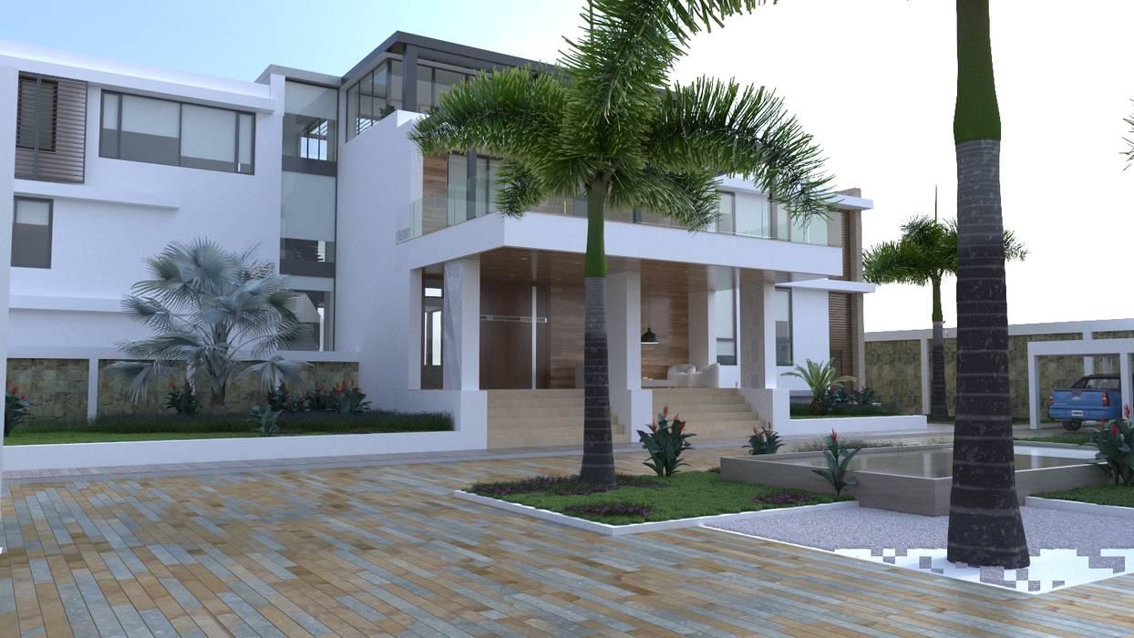 Fachada posterior: Casas de estilo moderno por Area5 arquitectura SAS