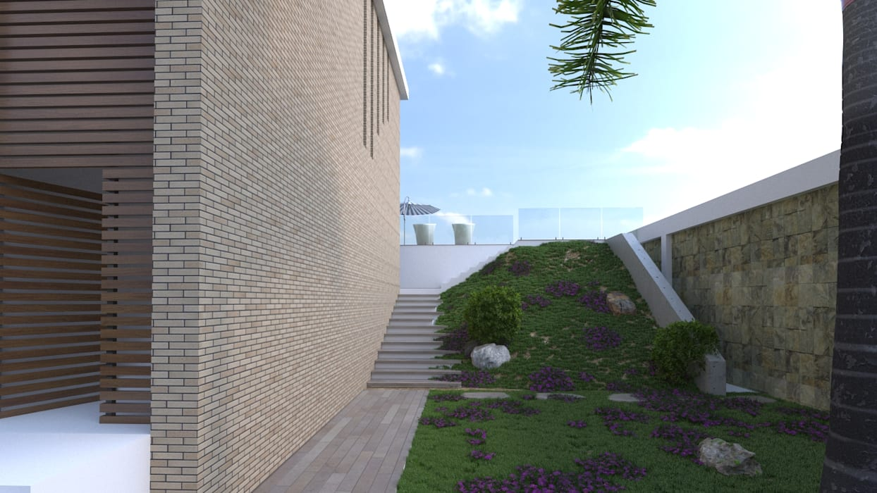 Zona ajardinada exterior: Jardines de estilo  por Area5 arquitectura SAS, Moderno