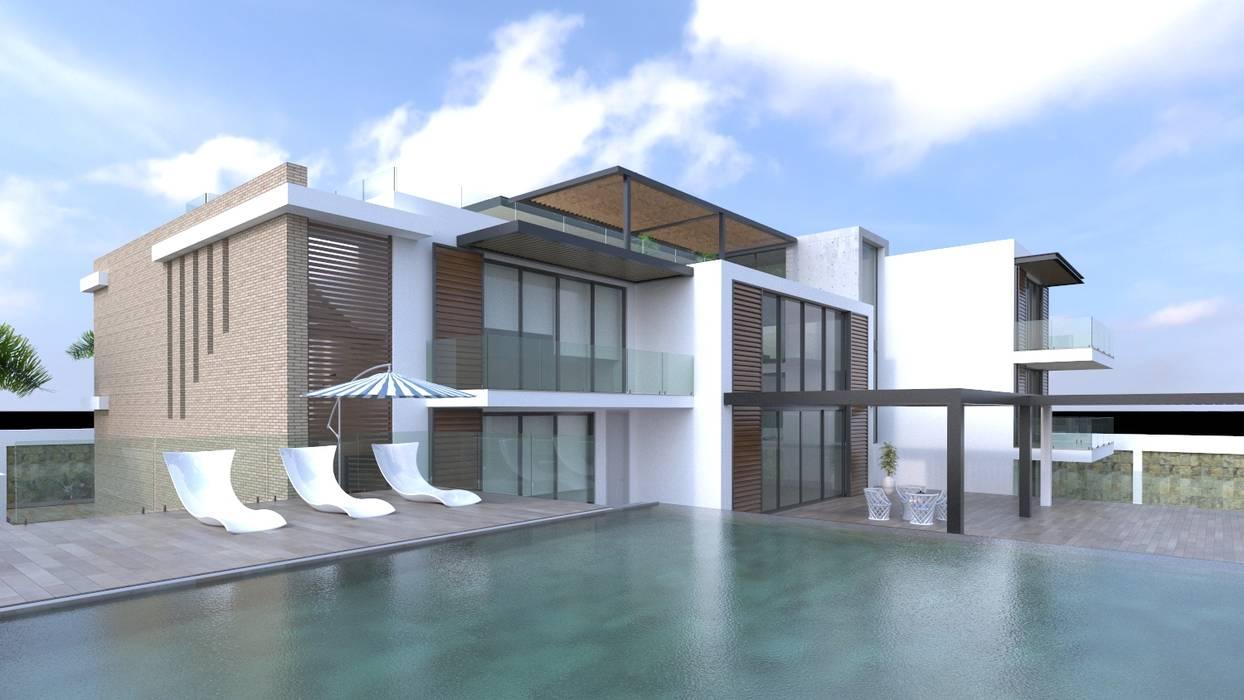 Fachad principal - Vista desde la piscina: Casas de estilo  por Area5 arquitectura SAS