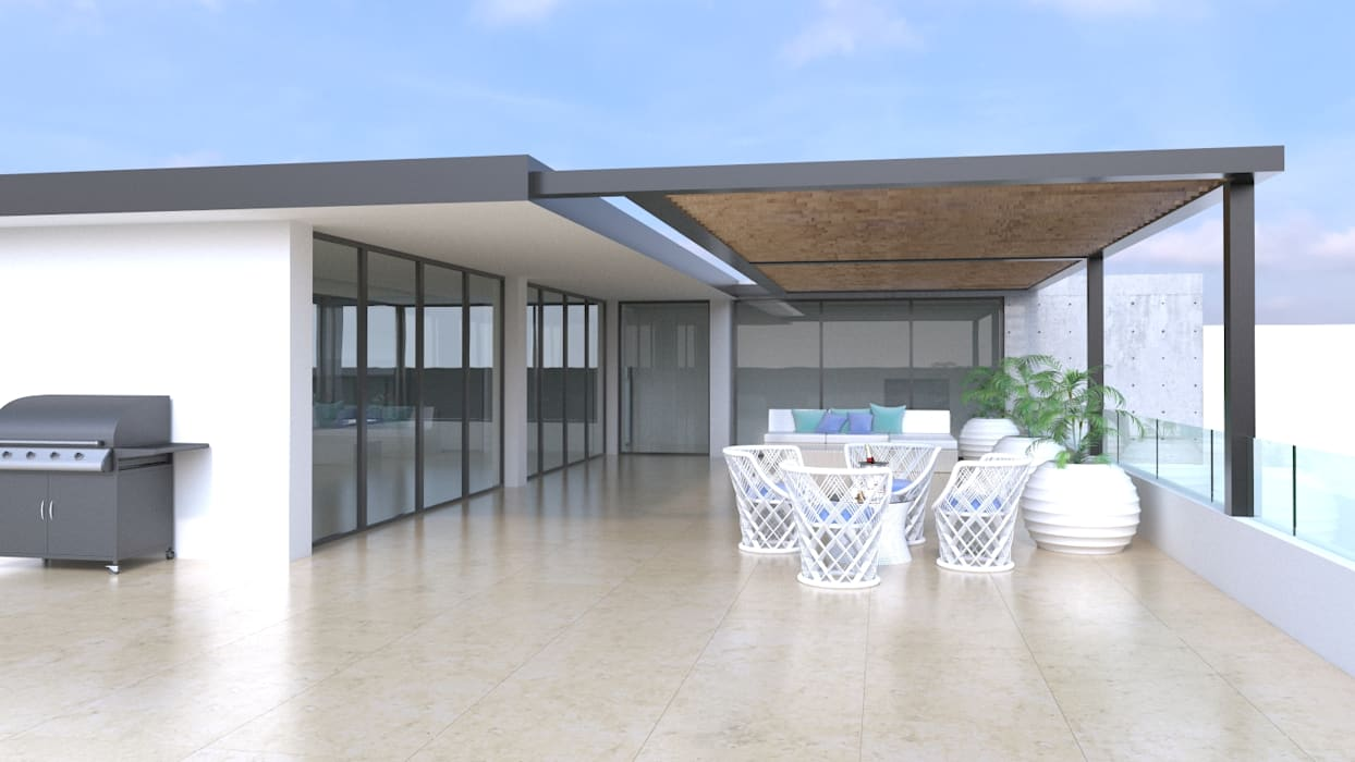 Terraza - Solarium - Gimnasio: Terrazas de estilo  por Area5 arquitectura SAS