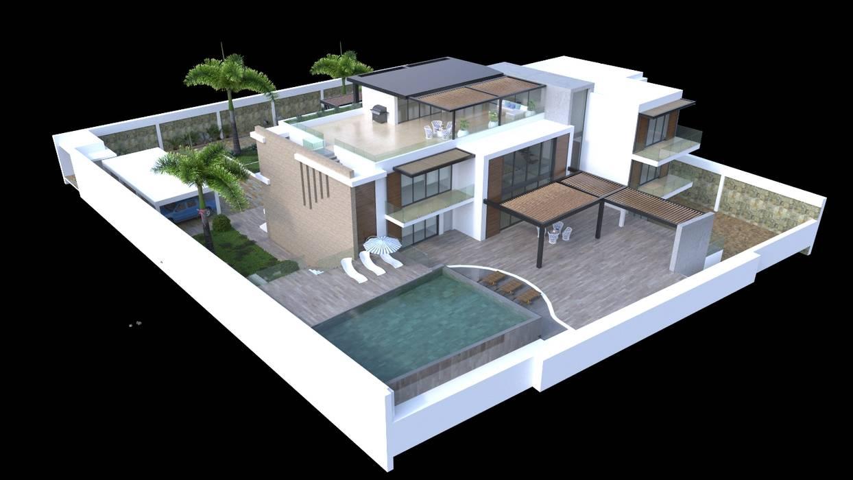 Volumetria del proyecto: Casas de estilo  por Area5 arquitectura SAS, Moderno