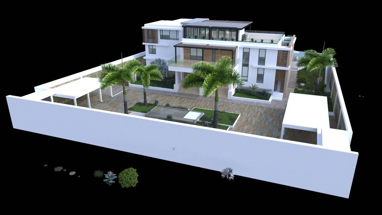 Volumetria del proyecto Casas modernas de Area5 arquitectura SAS Moderno