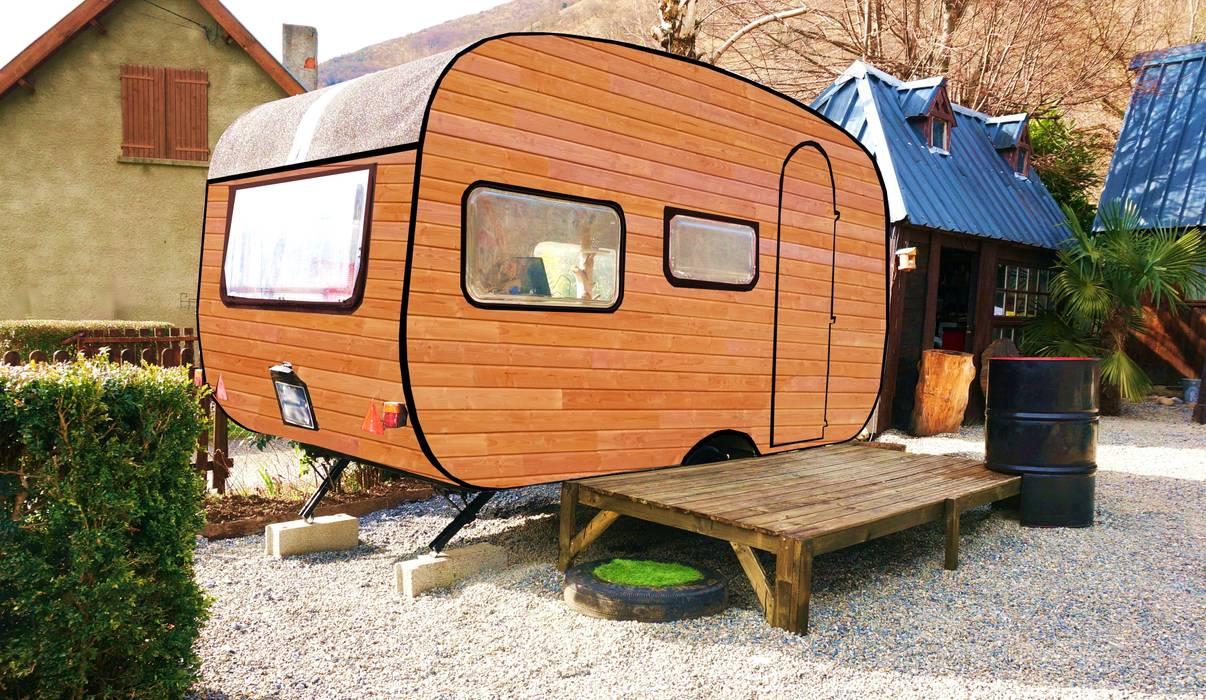 Caravane bois bureau de jardin: Bureaux de style  par Jardin boheme