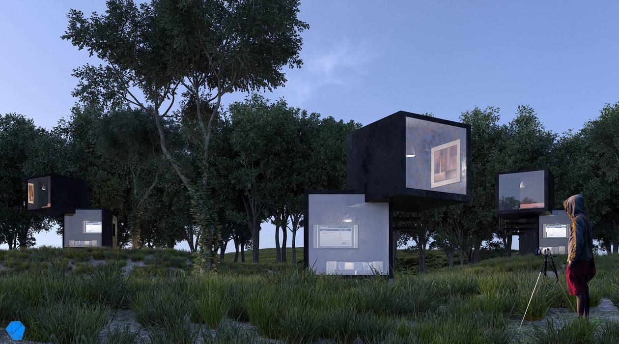 Black Box: Casas de estilo  por BenSin Estudio de Visualización