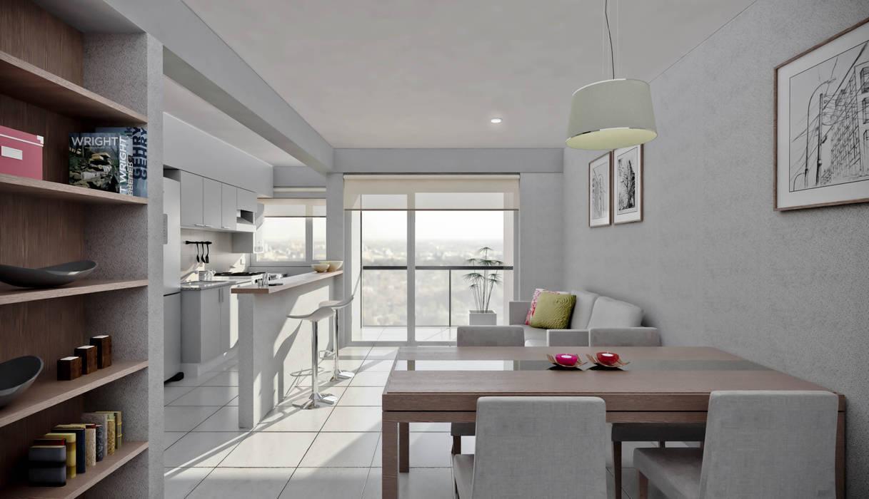 Departamento 1 dormitorio: Casas de estilo  por Akros S.R.L.,Moderno
