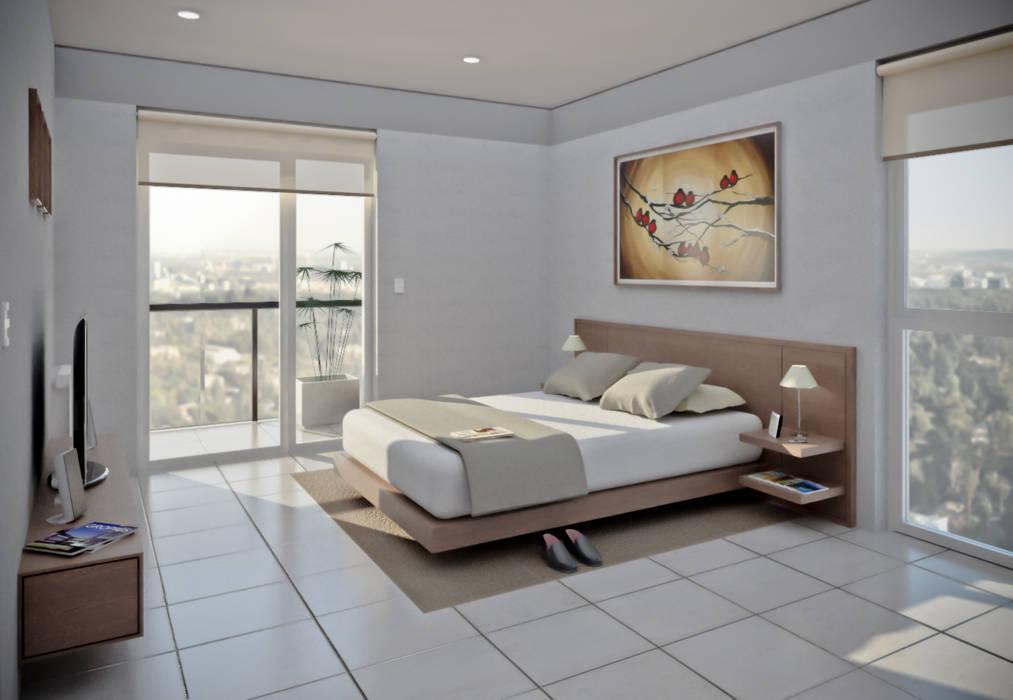 Habitación departamento 2 dormitorios: Casas de estilo  por Akros S.R.L.,Moderno