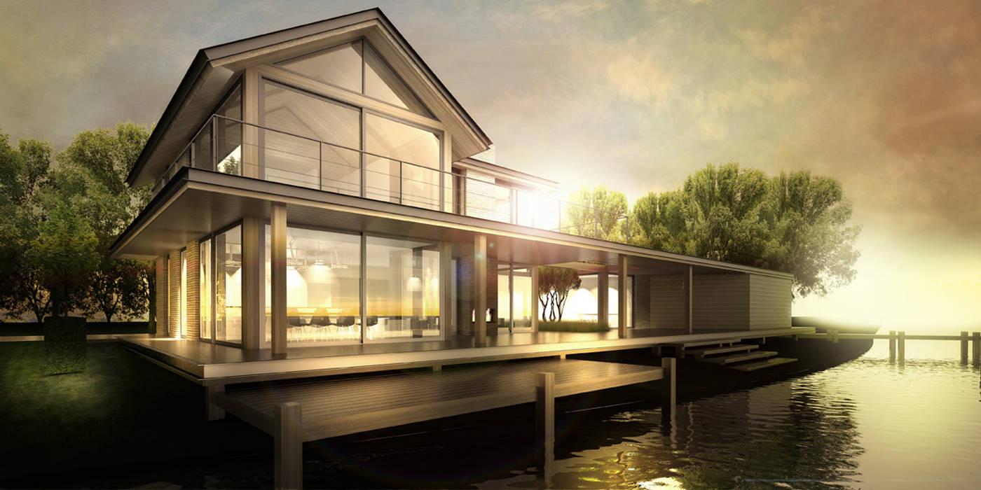 WATERVILLA RIJPWETERING Moderne huizen van DENOLDERVLEUGELS Architects & Associates Modern Hout Hout