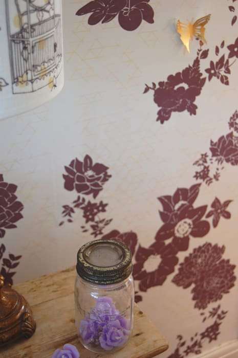 Geo Fleur wallpaper, cream & plum colour option:  Walls by Laura Felicity Design, Classic