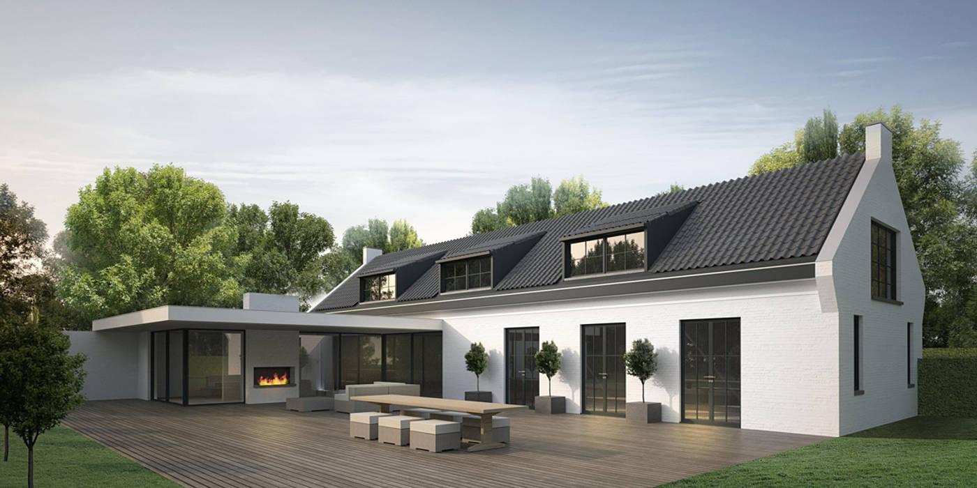 Landelijk moderne hoeve Paal:  Huizen door DENOLDERVLEUGELS Architects & Associates