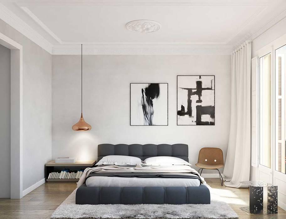 Render 3D vivienda en Barcelona Berga&Gonzalez - arquitectura y render Dormitorios de estilo moderno Gris