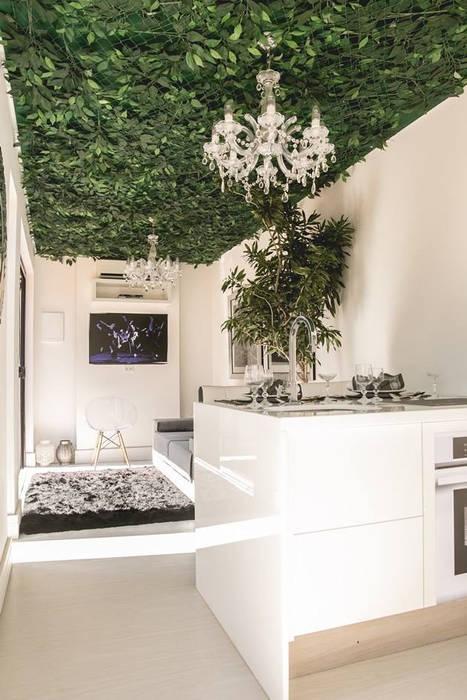 AD ARQUITETURA E DESIGN Modern living room Stone White