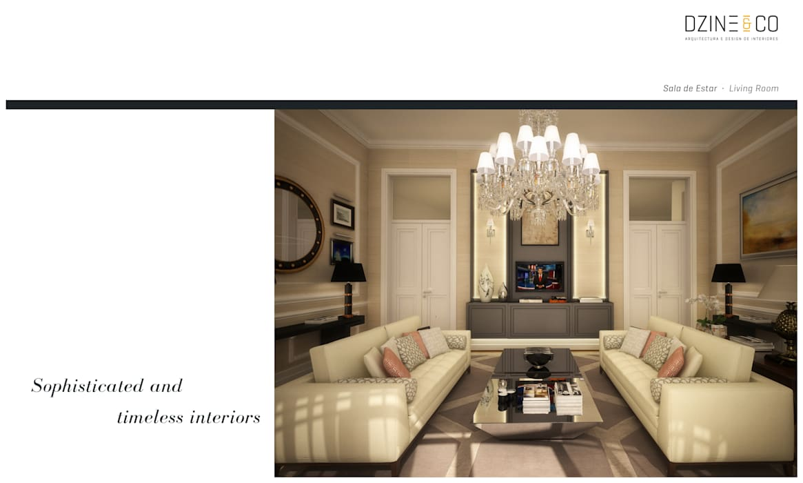 Timeless Interiors DZINE & CO, Arquitectura e Design de Interiores Salas de estar clássicas