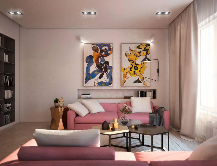现代客厅設計點子、靈感 & 圖片 根據 tatarintsevadesign 現代風