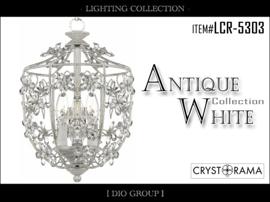 アンティークホワイト4灯シャンデリア: 株式会社ディオが手掛けたリビングルームです。
