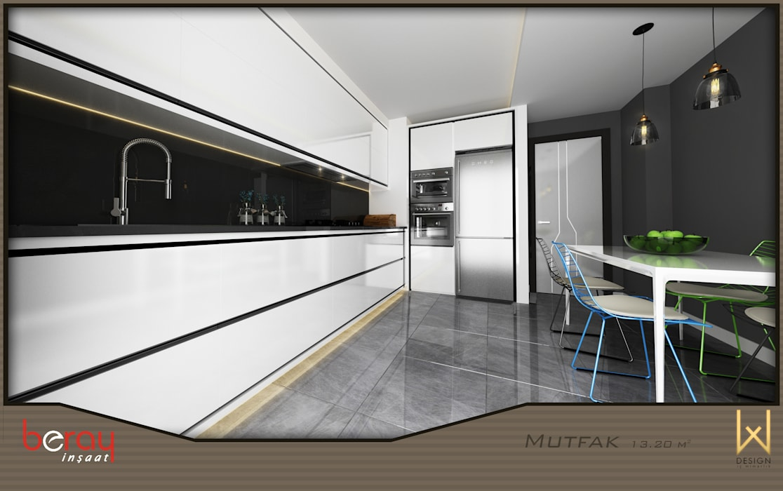 Kitchen by W DESIGN İÇ MİMARLIK, Modern Wood Wood effect