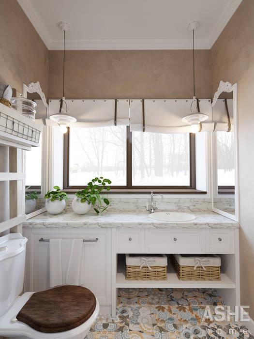 Дизайн интерьера коттеджа: Ванные комнаты в . Автор – Студия авторского дизайна ASHE Home, Эклектичный