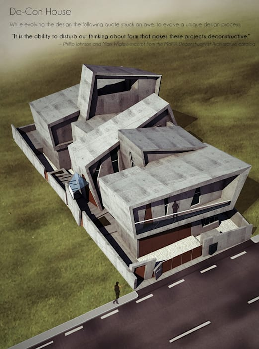 Offcentered Architects Moderne Häuser Beton Grau