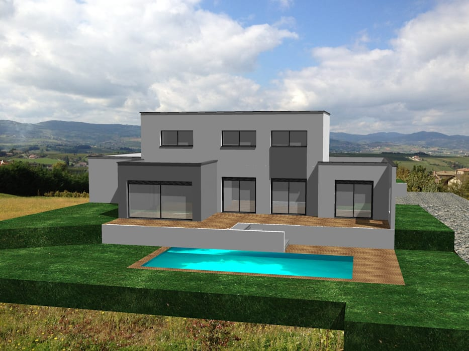 Modélisation 3d de maison contemporaine avec toiture terrasse: de ...