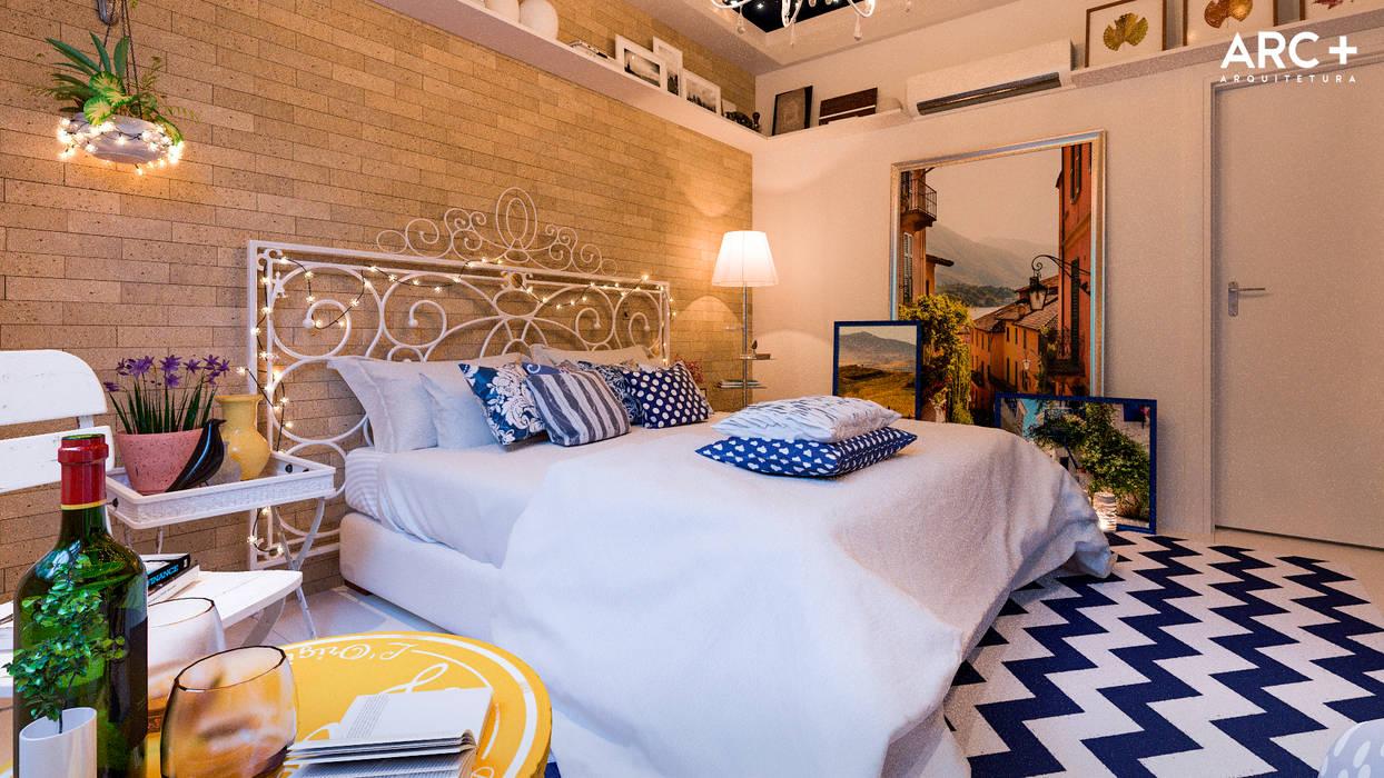Rustic style bedroom by ARC+ Arquitetura Rustic Bricks