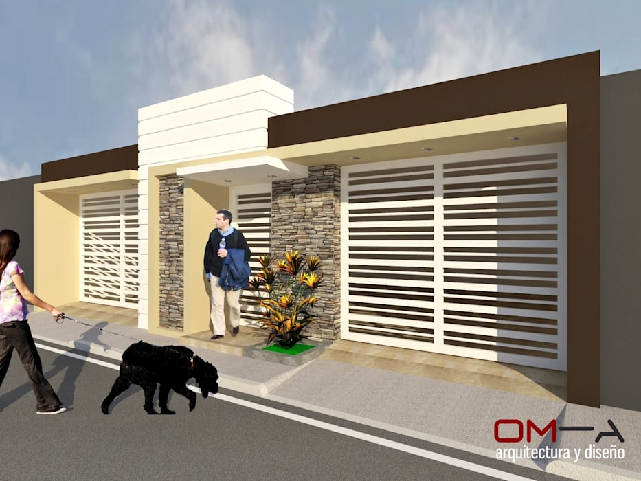 Diseño de fachada de vivienda pareada: Casas de estilo  por om-a arquitectura y diseño, Minimalista