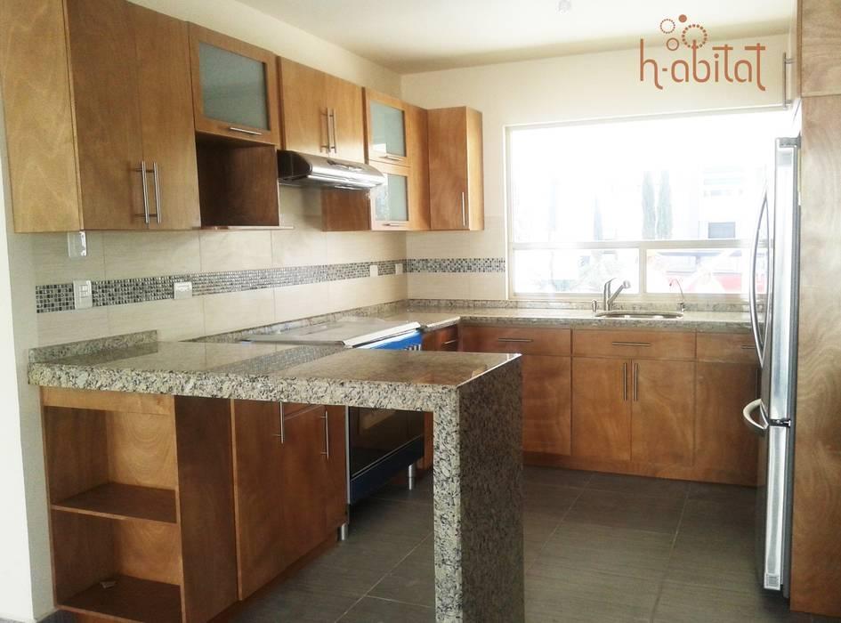 H-abitat Diseño & Interiores Modern style kitchen Wood Wood effect