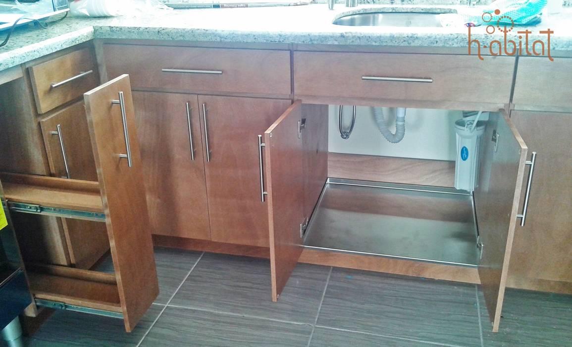Кухни в . Автор – H-abitat Diseño & Interiores , Модерн Дерево Эффект древесины