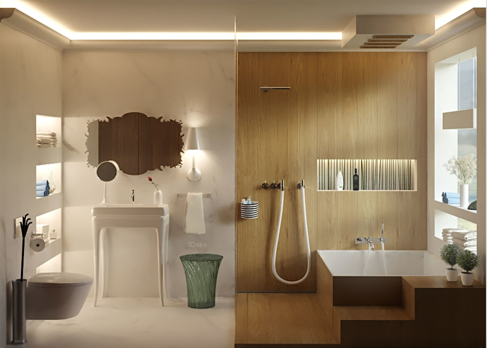 Baño en mármol y madera: Baños de estilo  por 3Deko