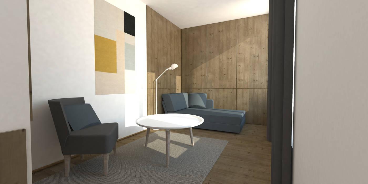 architecture interieur epure: Salon de style  par Ophélie Dohy architecte d'intérieur