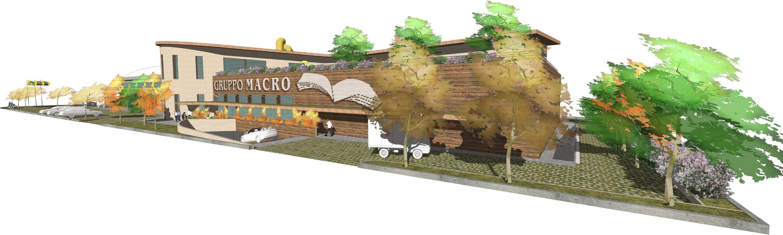 Un edificio il legno e paglia immesso a una food forest: Centri commerciali in stile  di Studio Foschi - Case in Legno Naturale