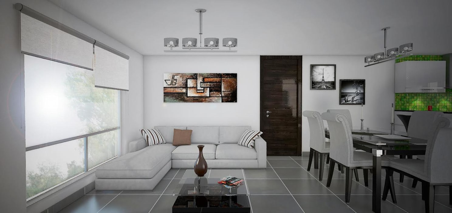 Proyecto en San Andrés, Trujillo Arquitectura y diseño 3d- J.C.G Living room