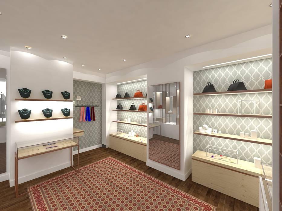 Vue intérieur de la boutique Cécile & Jeanne: Espaces commerciaux de style  par Belle Ville Atelier d'Architecture