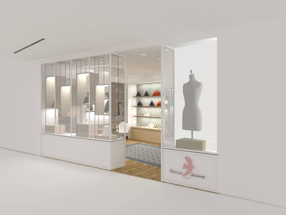 Vitrine de Cécile & Jeanne, Centre Beaugrenelle Belle Ville Atelier d'Architecture Espaces commerciaux modernes Bois Blanc