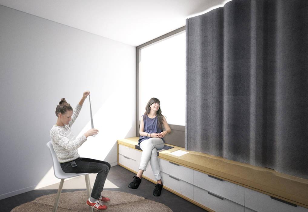 Vue du bureau du kinésithérapeute n°3 Belle Ville Atelier d'Architecture Espaces de bureaux scandinaves Bois Blanc