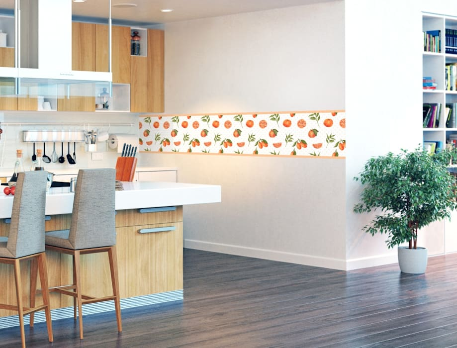 Küchendeko bordüre mit orangen: modern von i-love-wandtattoo ...