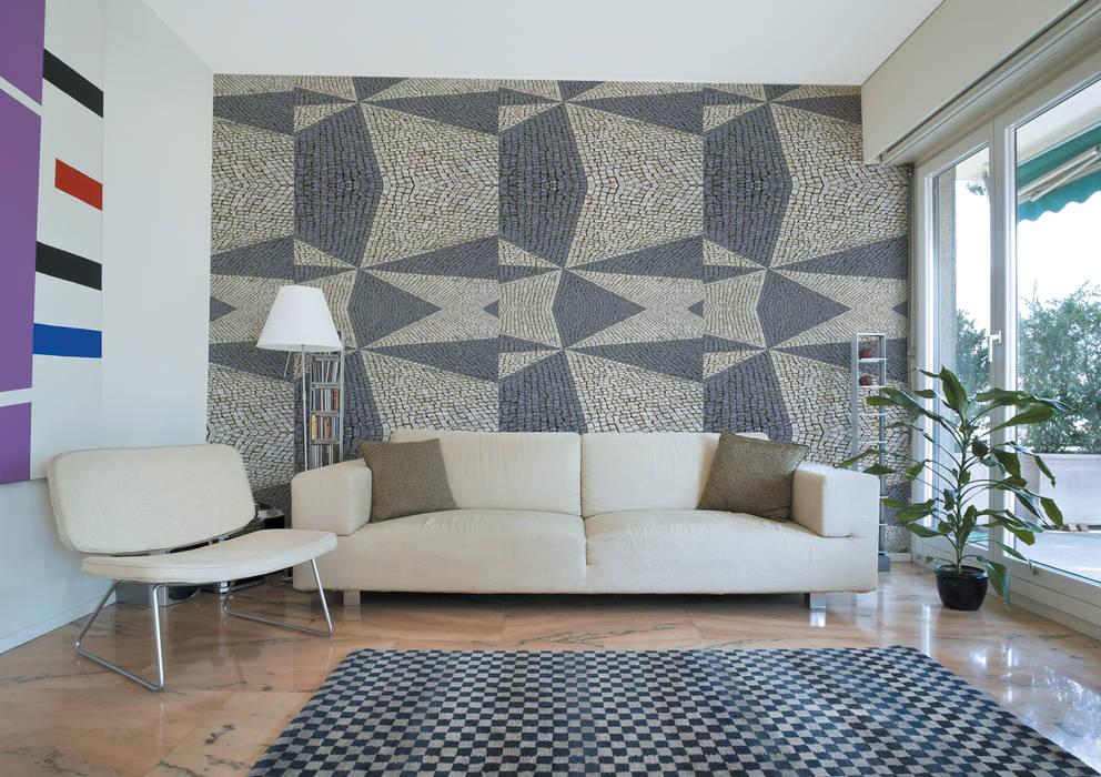 Calçada Portuguesa Fractal 1 OH Wallpaper Walls & flooringWallpaper Paper Grey