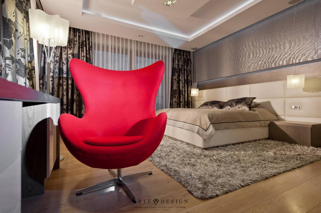 Sypialnia z łazienką: styl , w kategorii Sypialnia zaprojektowany przez Arte Dizain. Agnieszka Hajdas-Obajtek,