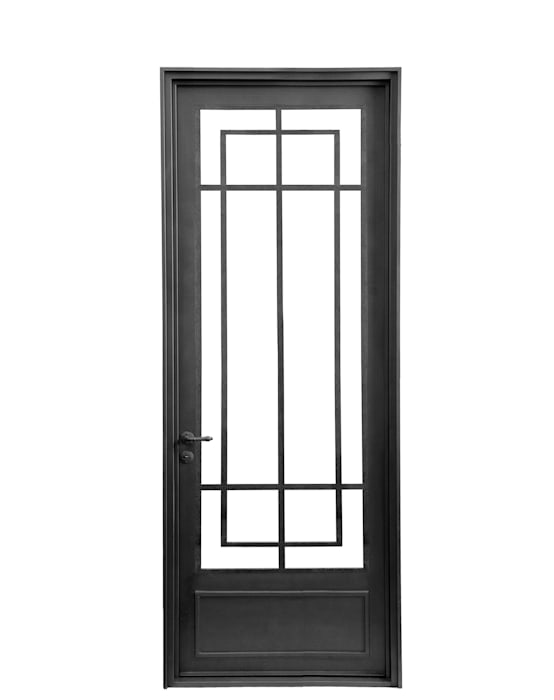 Puerta de entrada de hierro: Casas de estilo  por DEL HIERRO DESIGN