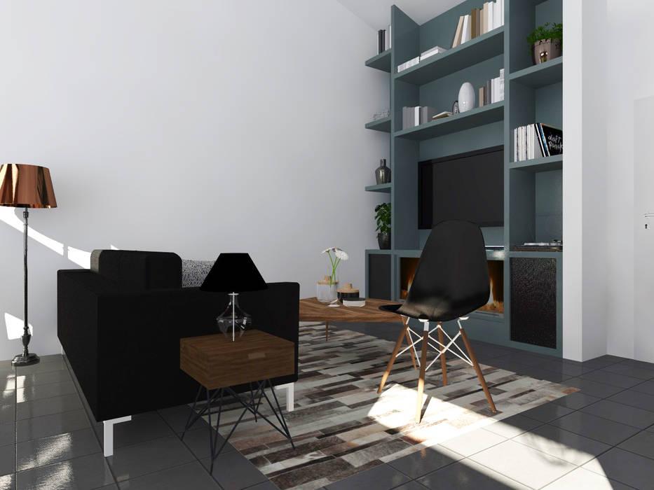 """Esprit atelier """"Loft industriel & vintage"""": Salon de style  par Sandia Design"""