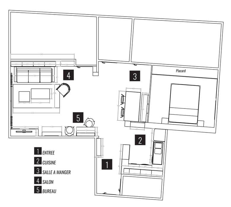 """Espace à vivre """"façon usine des années 70"""": Murs de style  par Sandia Design"""