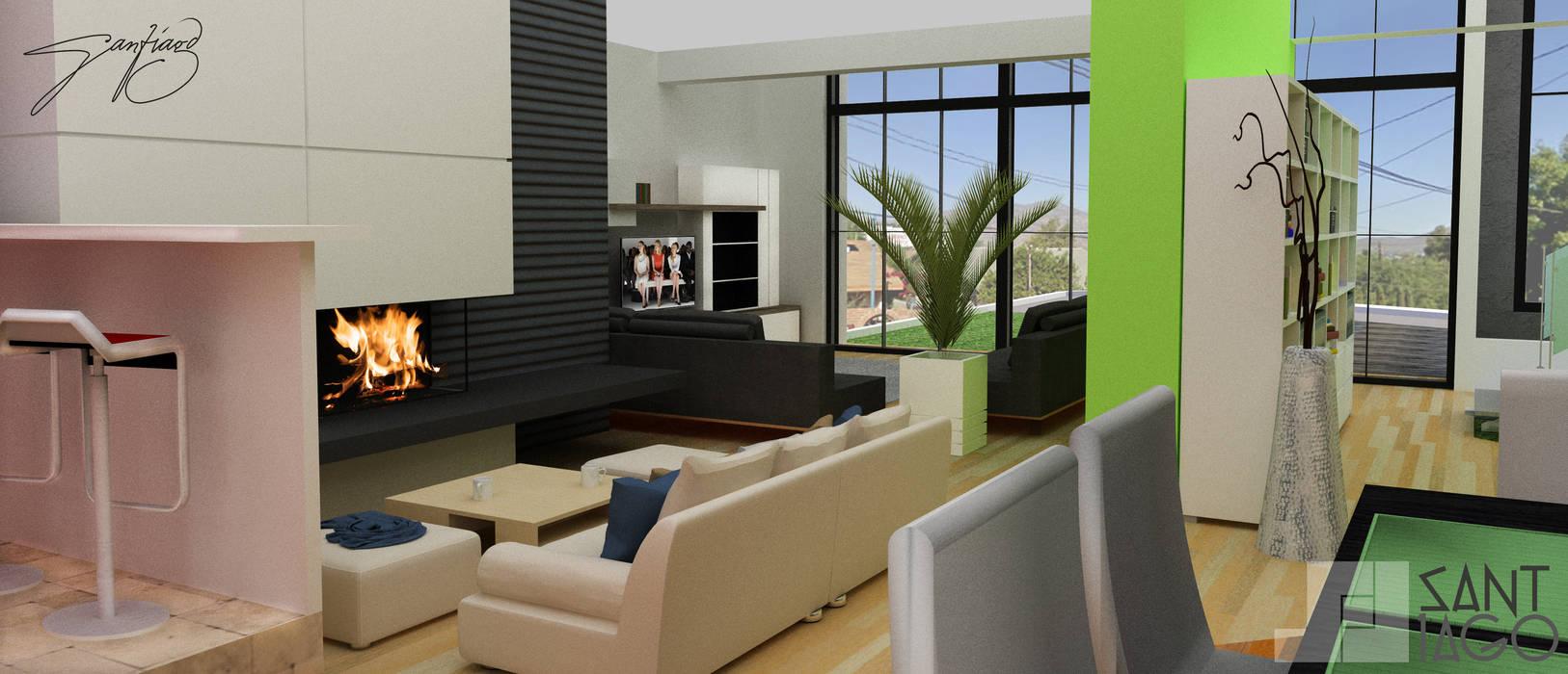 Comedor Area de estar: Comedores de estilo minimalista por SANT1AGO arquitectura y diseño