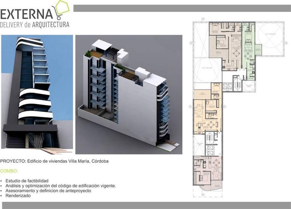 Edificio de viviendas, Villa maria. Cordoba: Casas de estilo  por Externa Arquitectura
