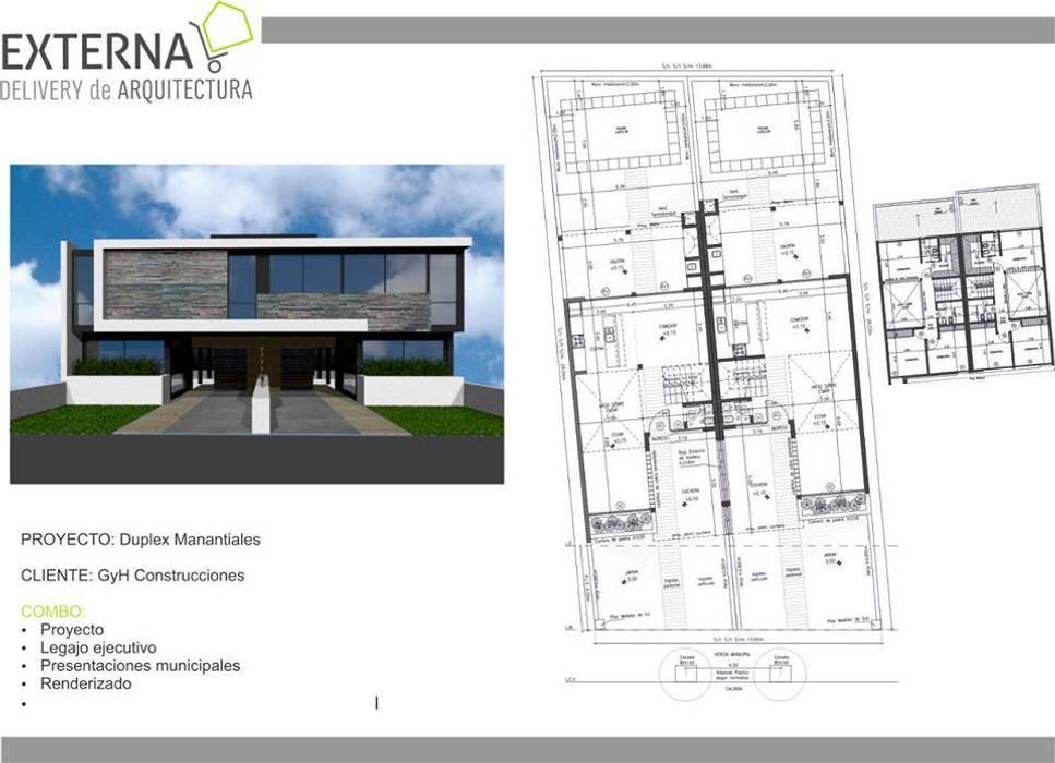 Duplex Manantiales: Casas de estilo  por Externa Arquitectura,Moderno Ladrillos
