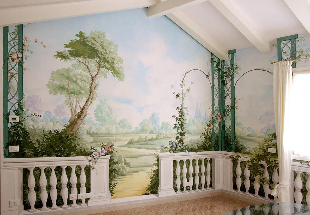 Giardino primaverile.: Soggiorno in stile  di erica de rosa, dipinti, affreschi, trompe l'oeil,  decorazioni - Venezia