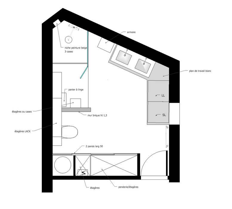 Optimiser les espaces: Salle de bains de style  par Mon Intérieur Sur Mesure (MISM)