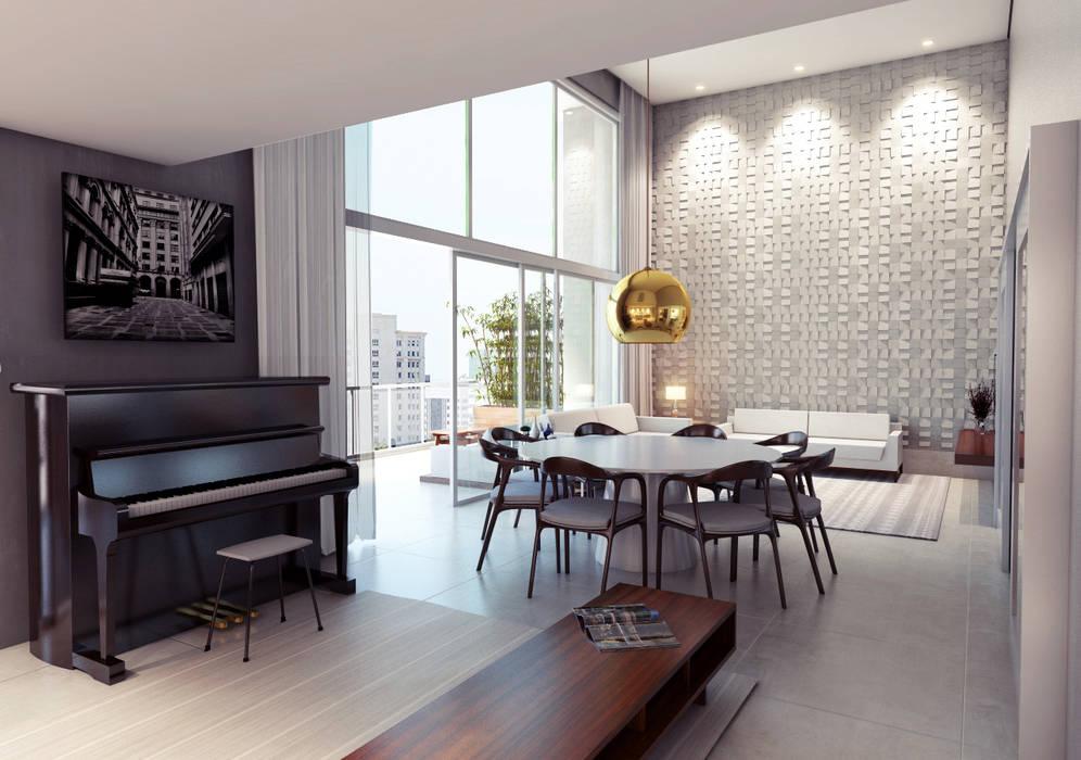 Projeto Sala AP Lozí - Projeto e Obra Salas de jantar modernas